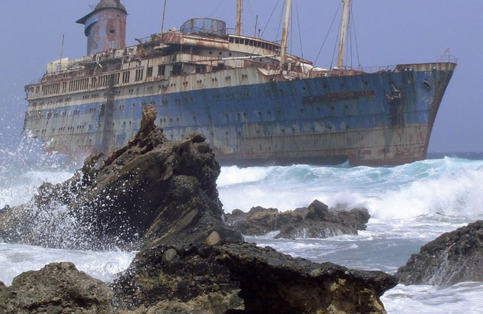 The wreck of the SS America off the coast of Fuerteventura in the Canary Islands. Source Wikimedia Commons