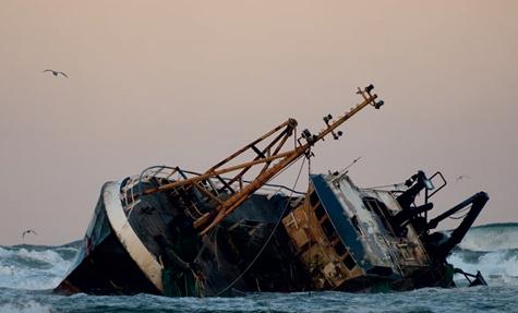 A fishing vessel run aground near Fraserburgh, Scotland.