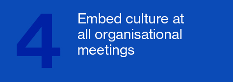 Embed culture at all organizational meetings