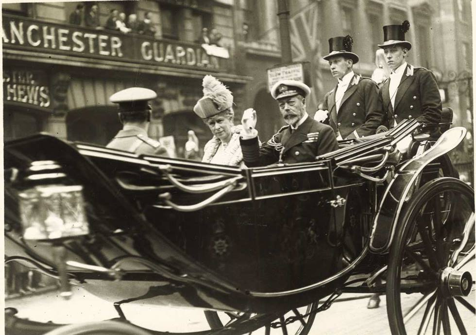 King George V and Queen Mary arriving at Lloyd's to lay the foundation stone for the 1928 building, (the site of Lloyd's current building), May 23rd 1928.